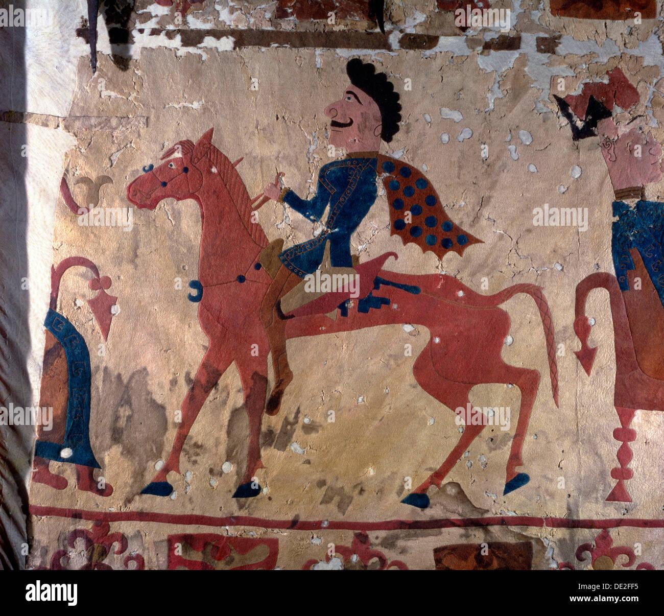 Horseman, Pazyryk felt artefact (carpet detail), 5th or 4th century BC. - Stock Image