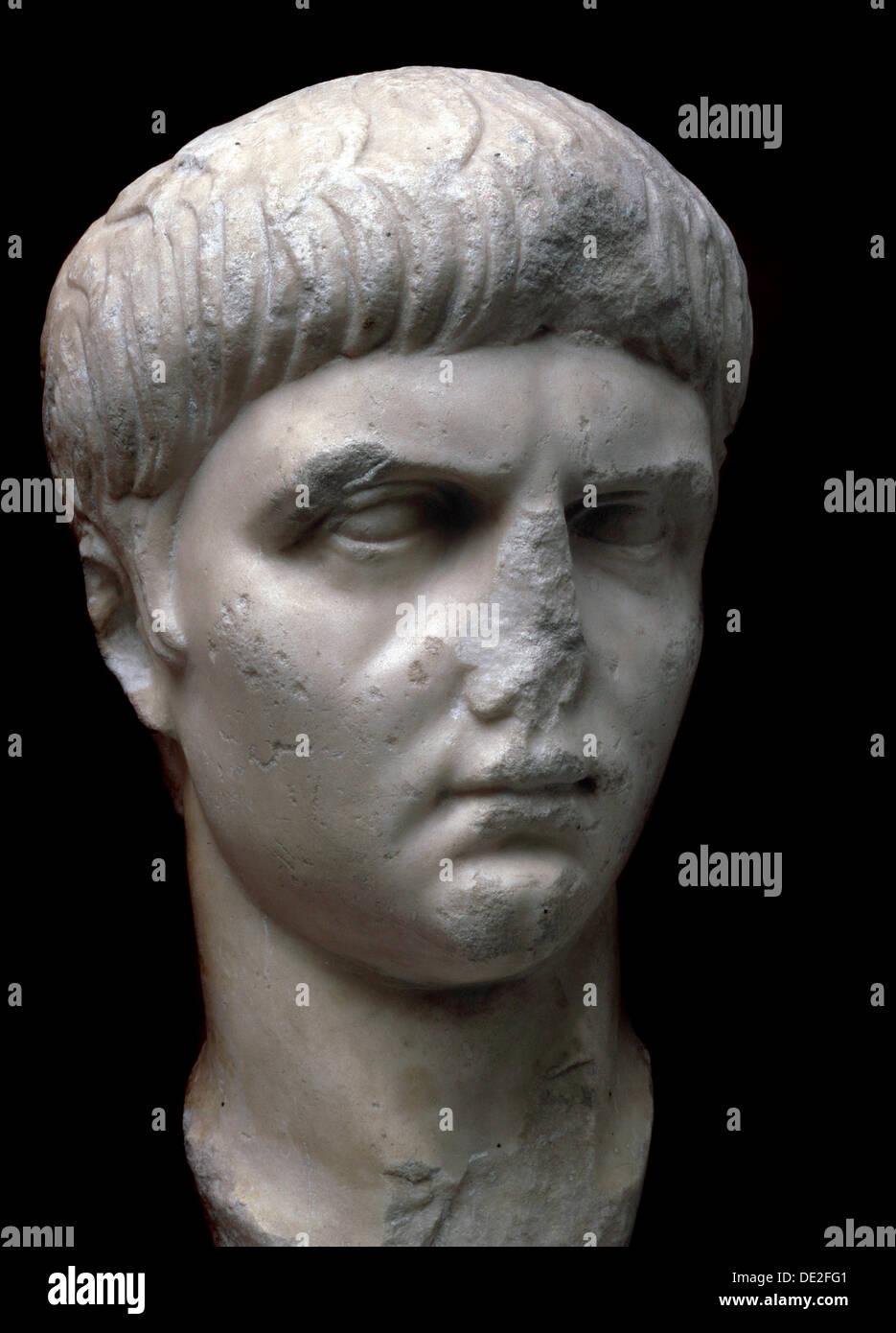 Marble portrait bust of the Roman Emperor Nero, 1st century. - Stock Image
