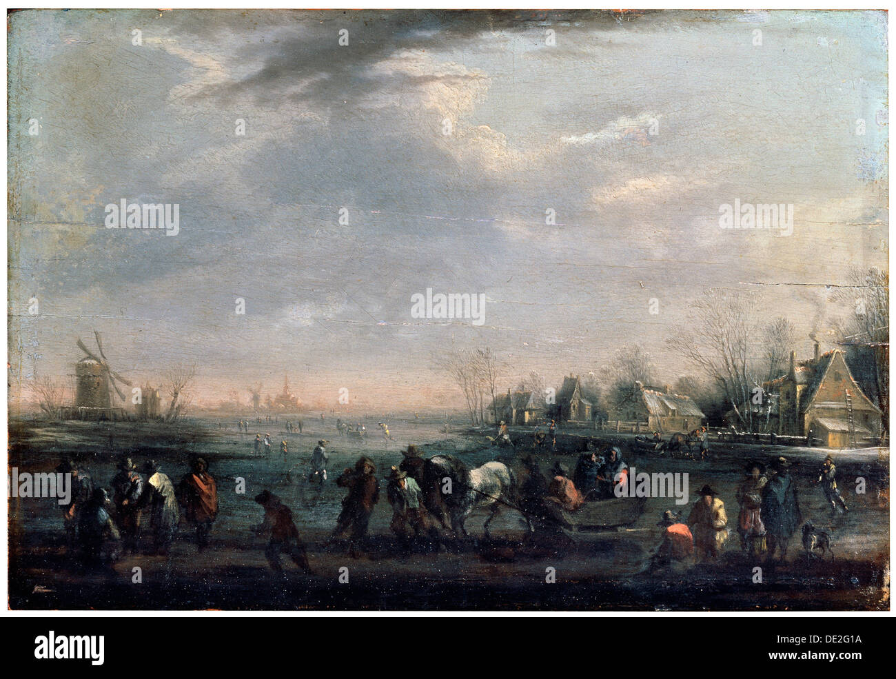 'Winter Landscape with Skaters', late 17th or early 18th century. Artist: Peeter Bout - Stock Image