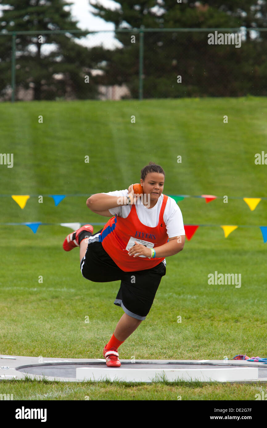 Ypsilanti, Michigan - Shot Put competition during the Track and field events at the AAU Junior Olympic Games. - Stock Image