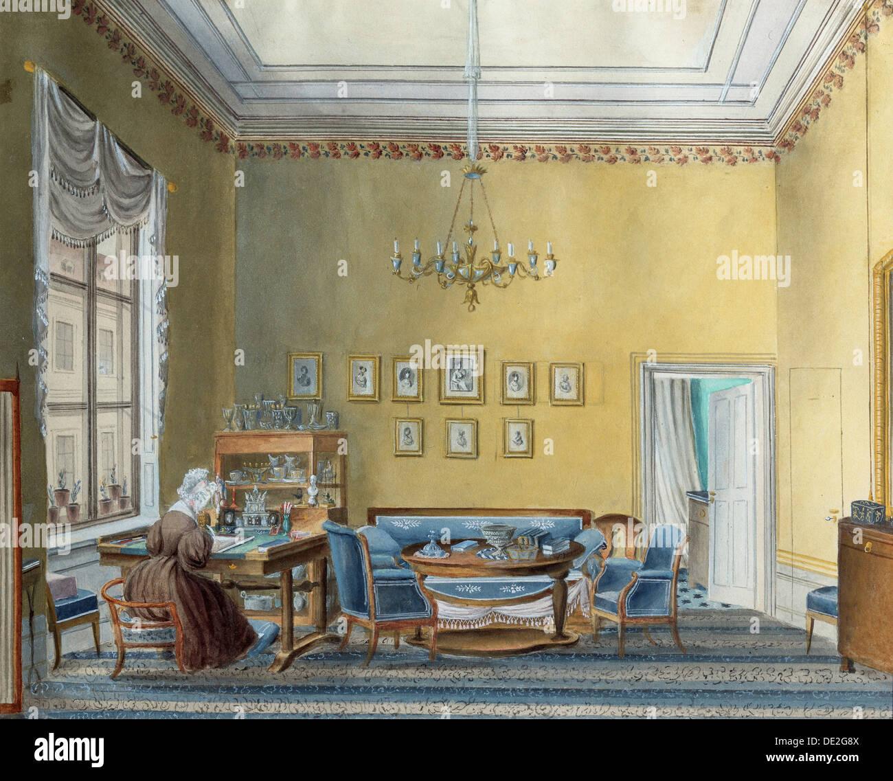 Interior in E Boratynsky's House, Moscow, Russia, 1830s ...