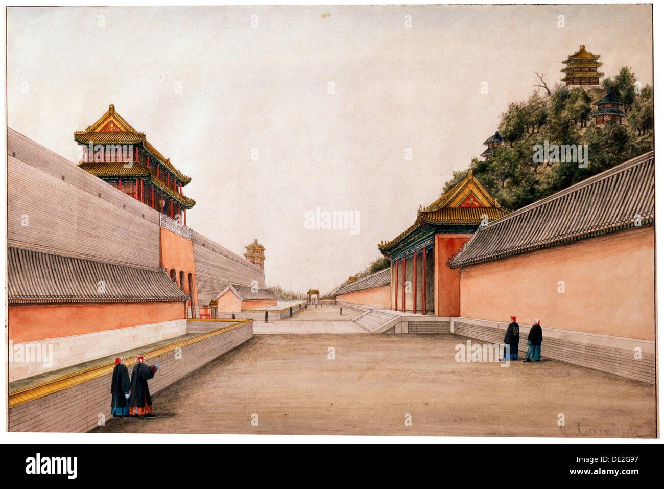 'Chinese Sketches, the Winter Palace in Beijing', c1804-c1806. Artist: Ivan Petrovich Alexandrov - Stock Image