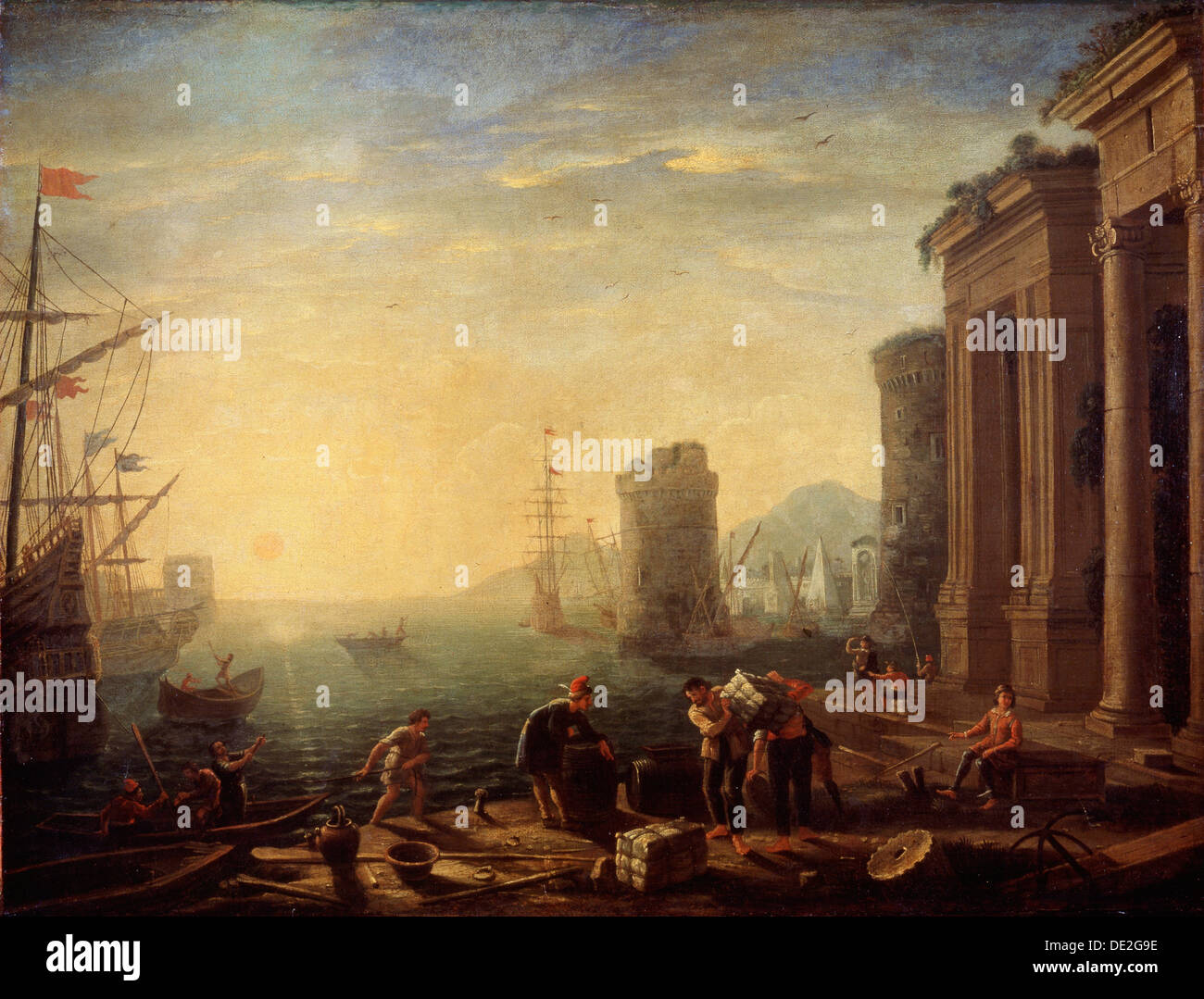 'Morning in the Harbour', 1630s. Artist: Claude Lorrain - Stock Image