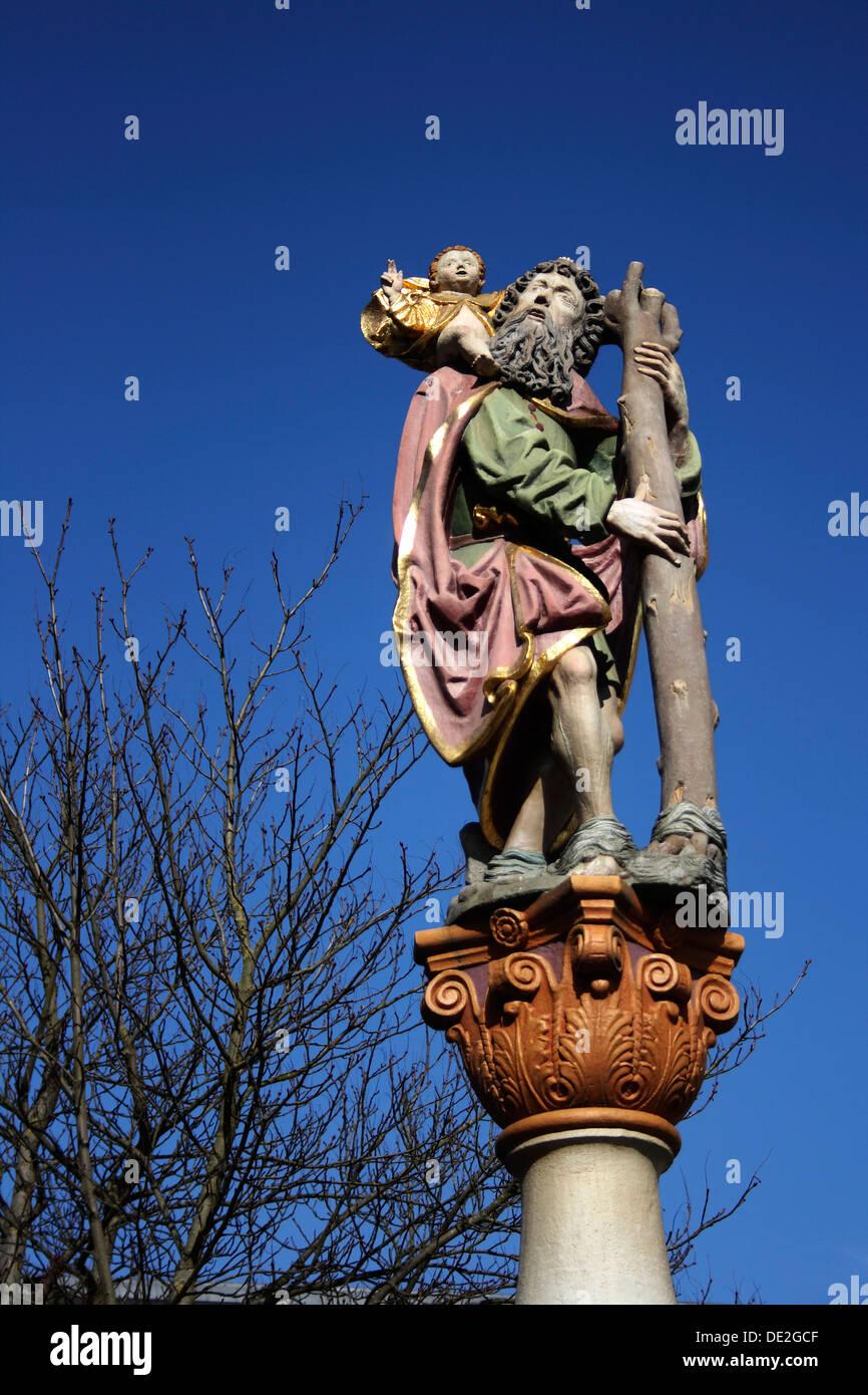 Sculpture on a fountain, Ulm an der Donau, Upper Swabia, Baden-Wuerttemberg Stock Photo