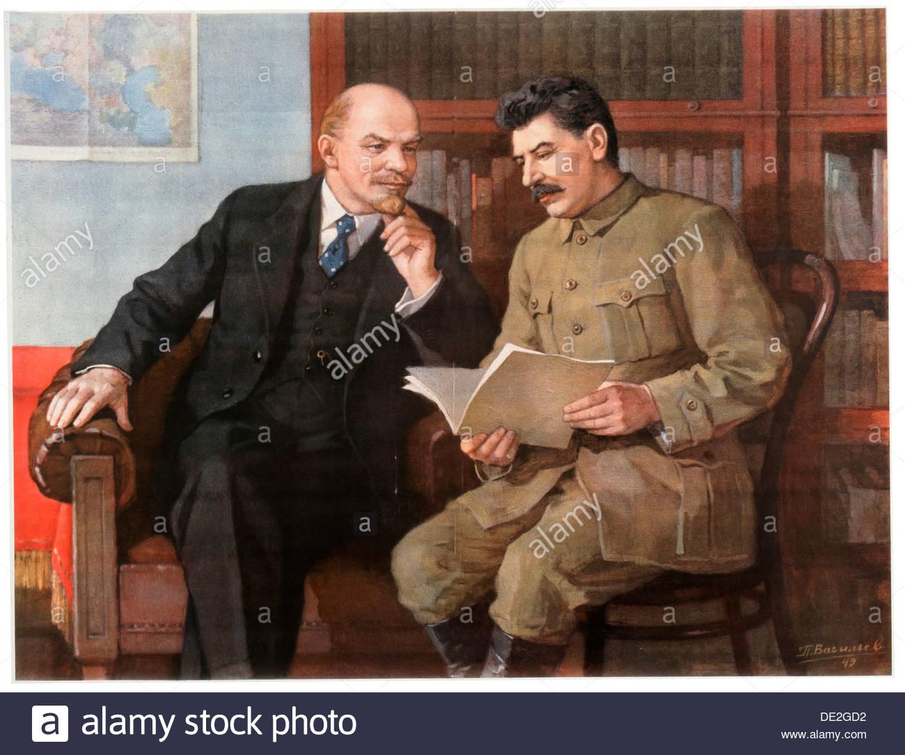 'Lenin and Stalin', poster, c1949-c1950. Artist: Pyotr Vasilyev - Stock Image