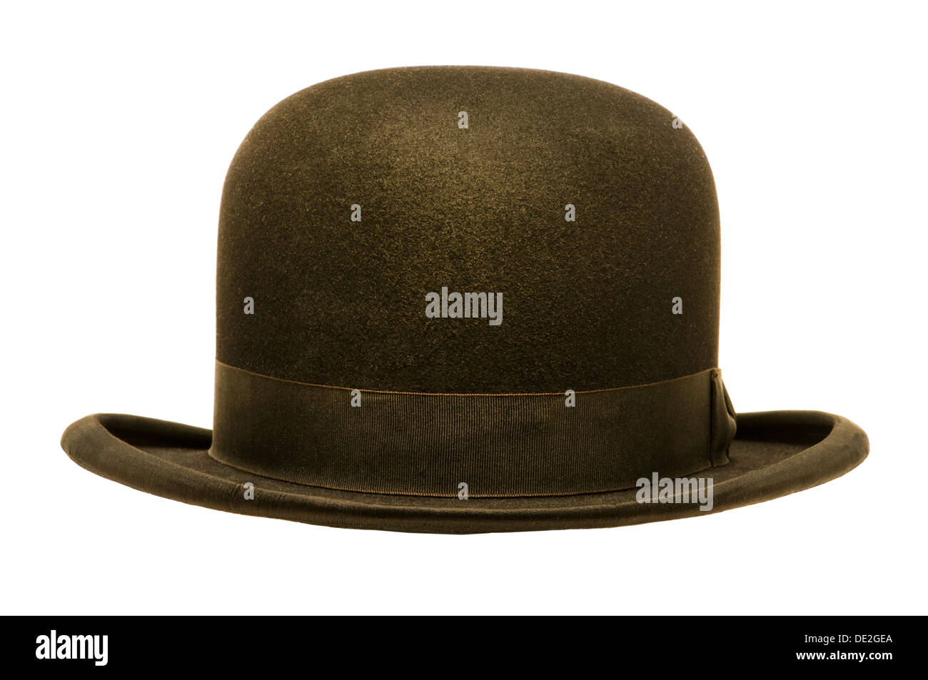 d7a40a0d96b A black derby or bowler hat isolated against a white background ...