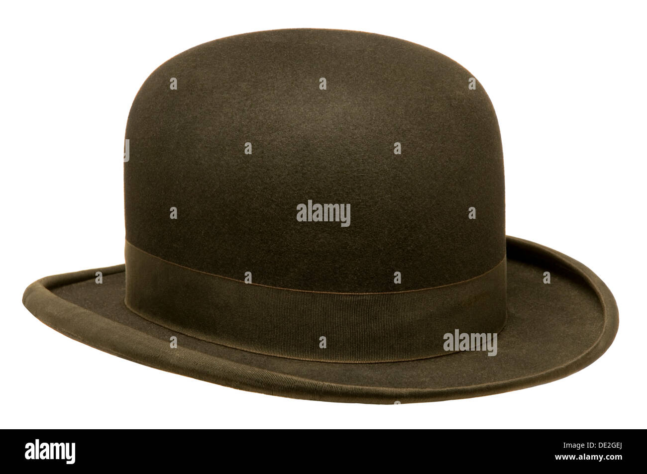 b63a7aaa Black bowler or derby hat isolated against white background - Stock Image