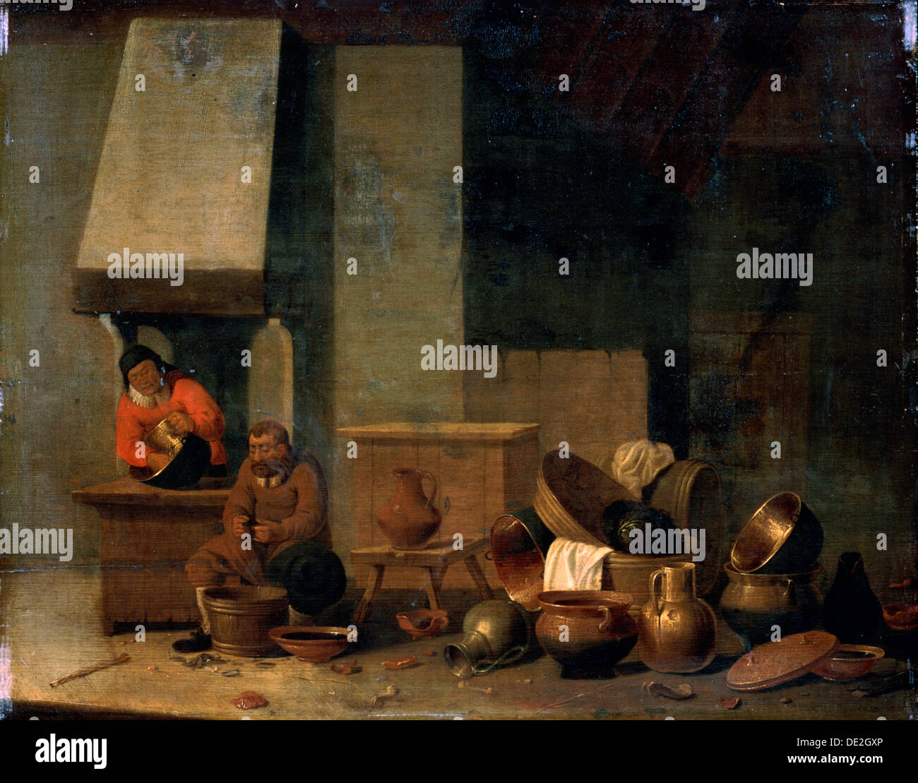 'The Kitchen', 17th century.  Artist: Anon - Stock Image