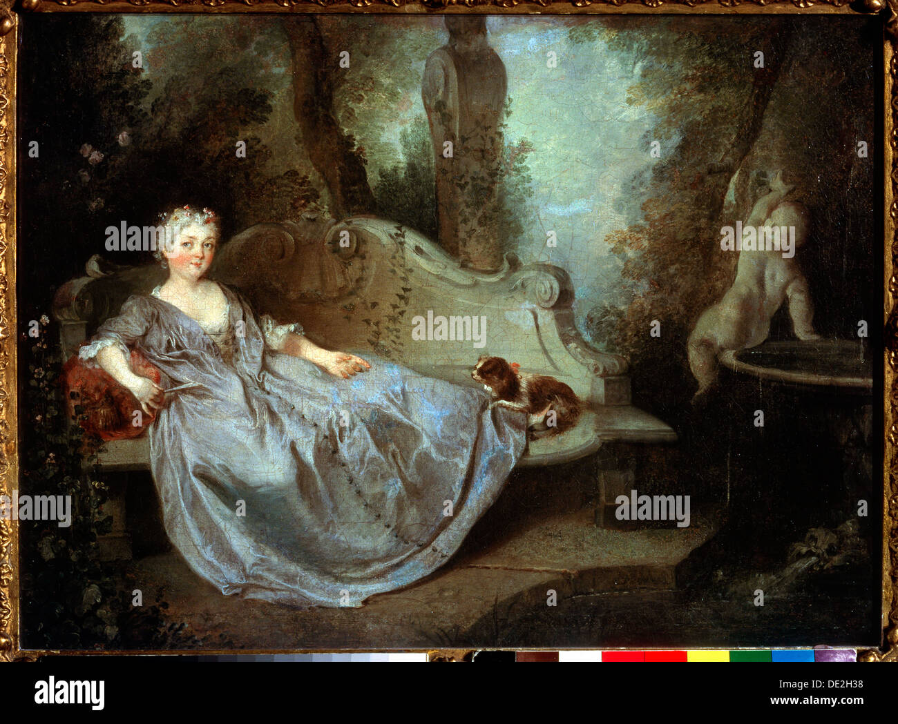 A Lady in a Garden\', 18th century. Artist: Nicolas Lancret Stock ...