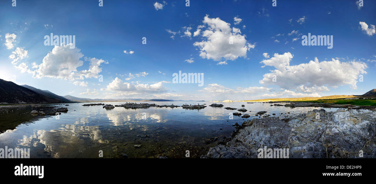 Cloudy sky reflected in the water of the Sees Mono Lake, Mono Lake, Lee Vining, California, United States - Stock Image