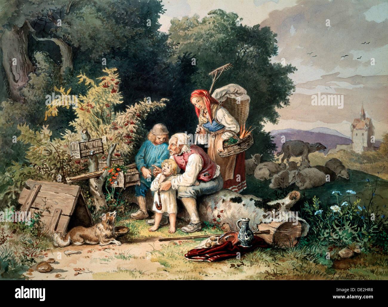 'The Shepherd's Family', 1837.  Artist: Ludwig Richter - Stock Image