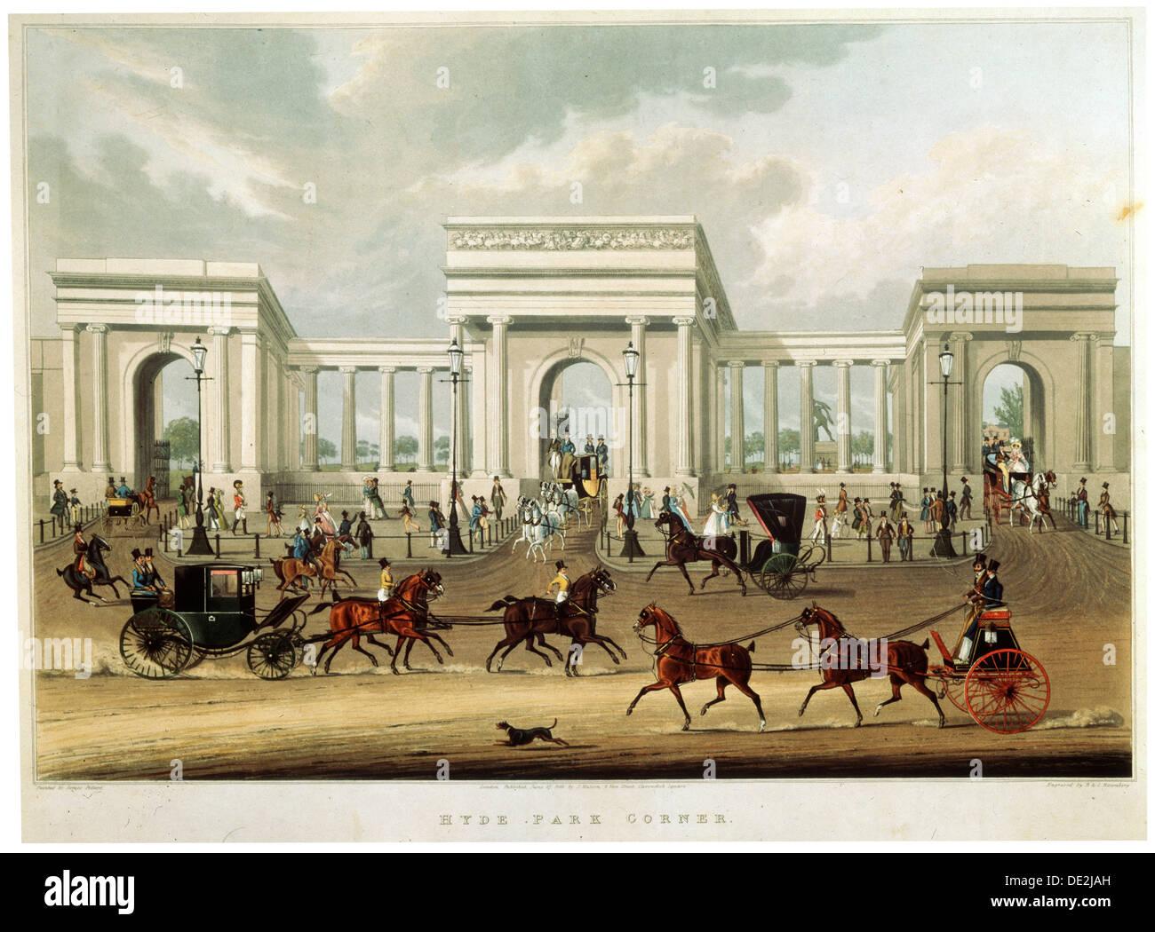 'Hyde Park Corner', 1828. Artist: Richard Rosenberg - Stock Image