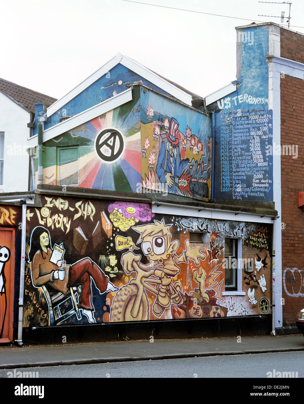 Mural depicting anti-capitalist and anarchist themes on the Kebele Kommunity Projekt building rear wall, Robertson Road, Bristol - Stock Image
