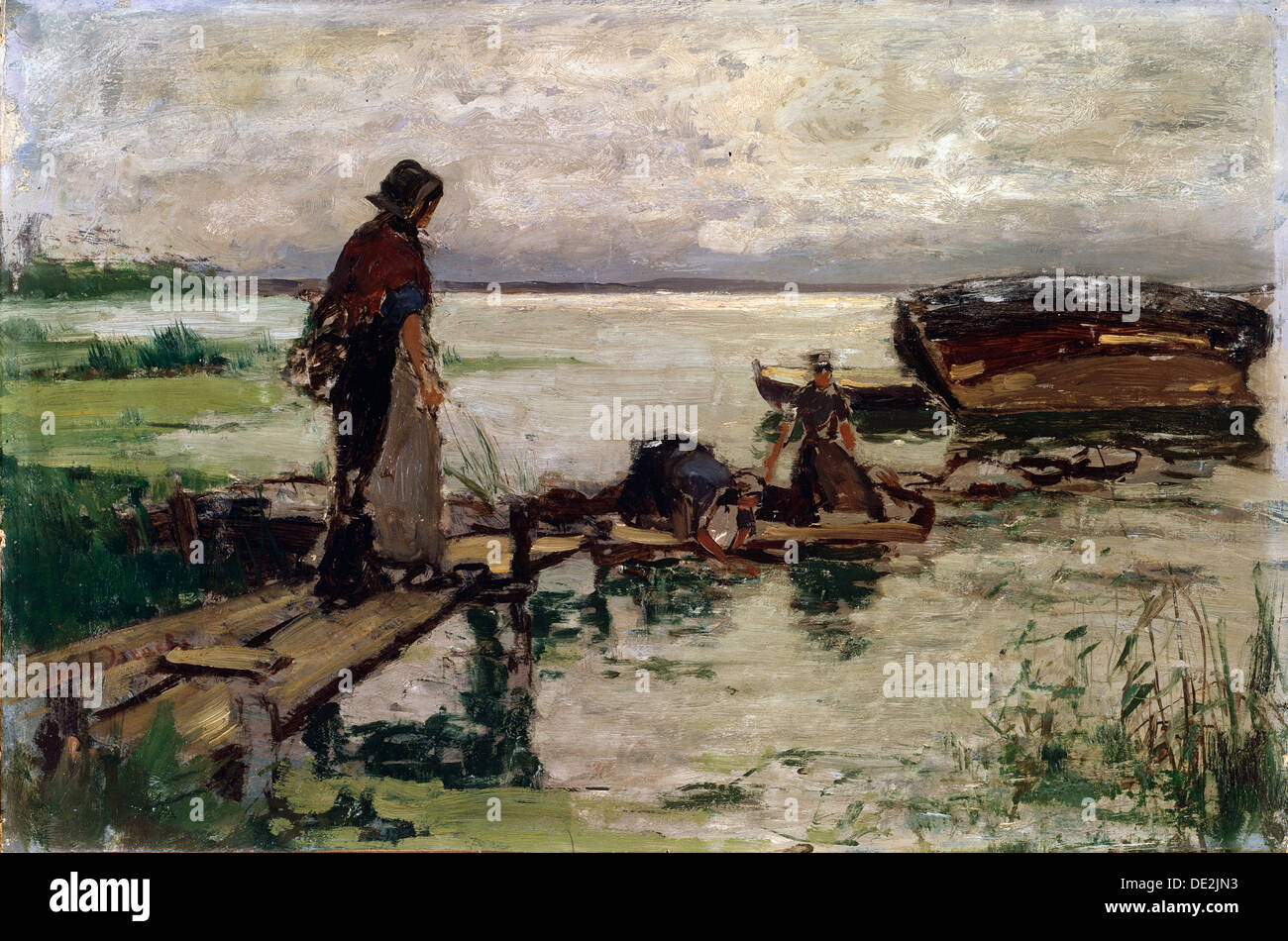 'At the Seashore', 19th or early 20th century. Artist: Jozef Israels - Stock Image
