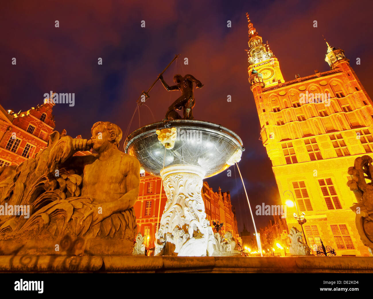 Night view of Dlugi Targ - Long Market Street in Gdansk, city in the northen Poland. Stock Photo