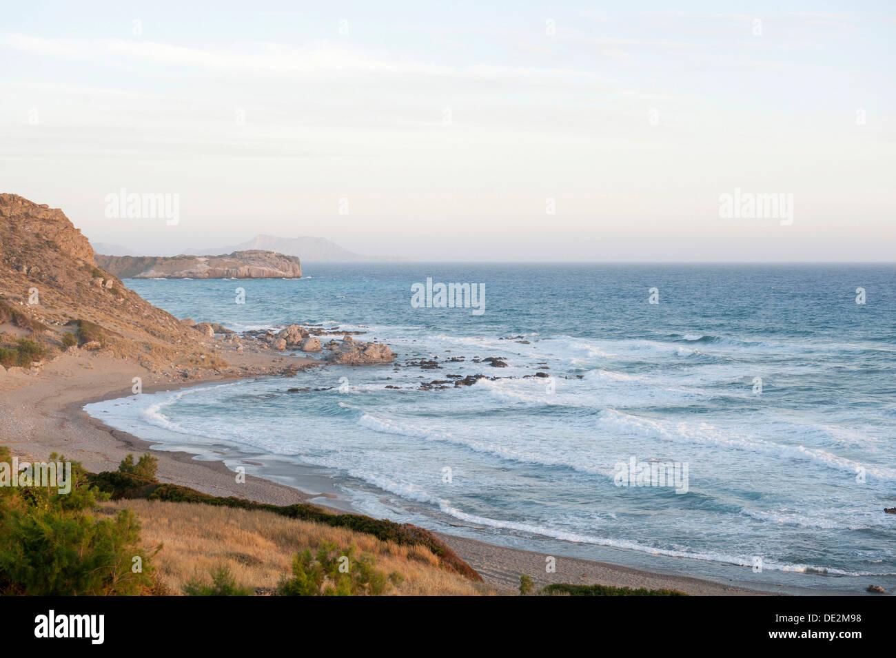Secluded bay, surf, foaming waves, Triopetra, Agios Pavlos, Crete, Libyan Sea, Mediterranean, Greece, Europe - Stock Image