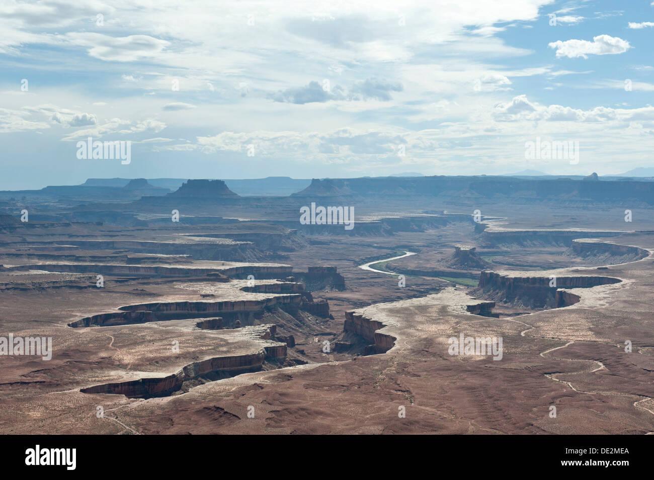 Eroded landscape, canyons, Green River Overlook, Canyonlands National Park, Utah, Western United States, USA - Stock Image