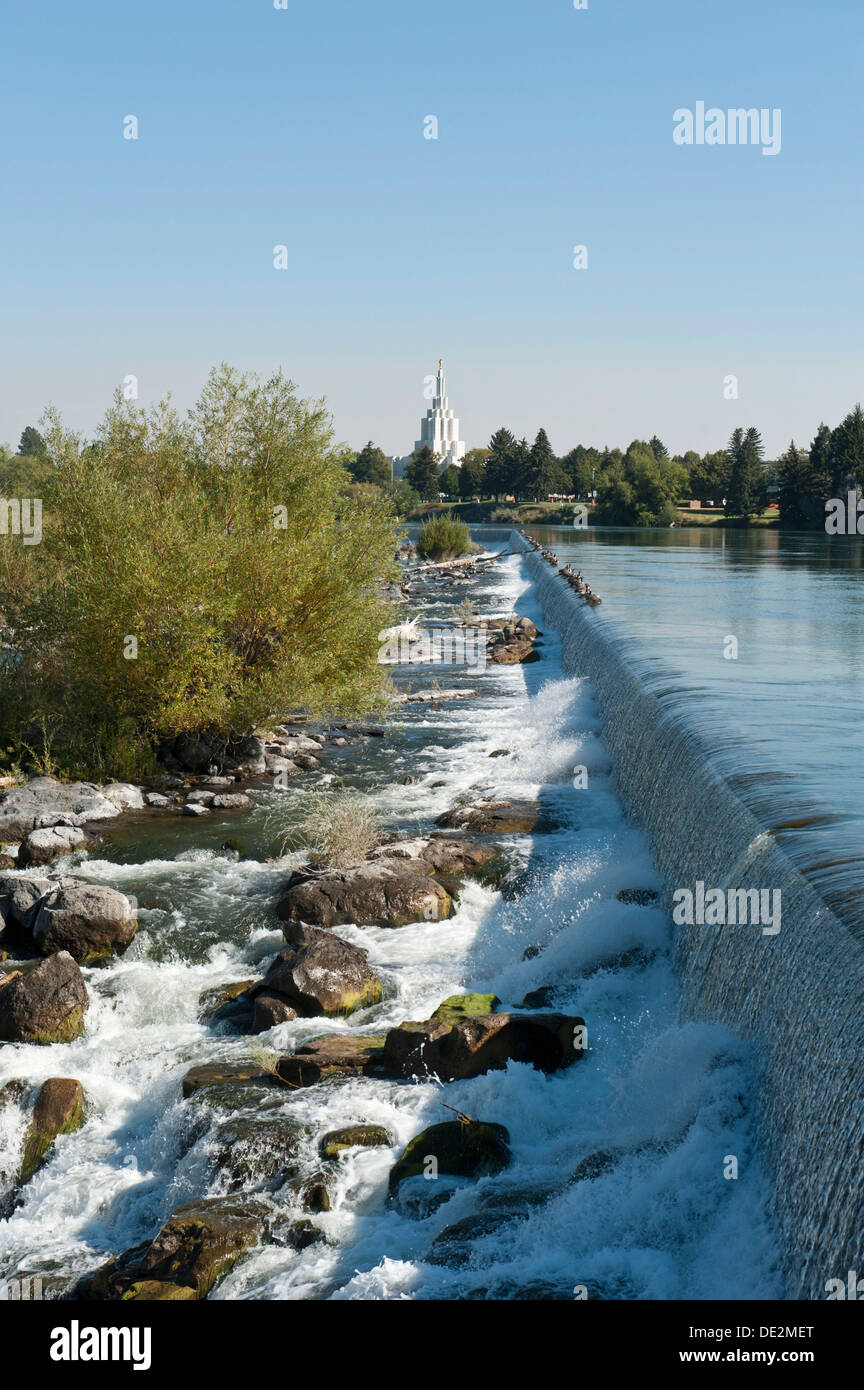 City beside a river, waterfall, Snake River, Idaho Falls, Idaho, Western United States, United States of America, North America - Stock Image