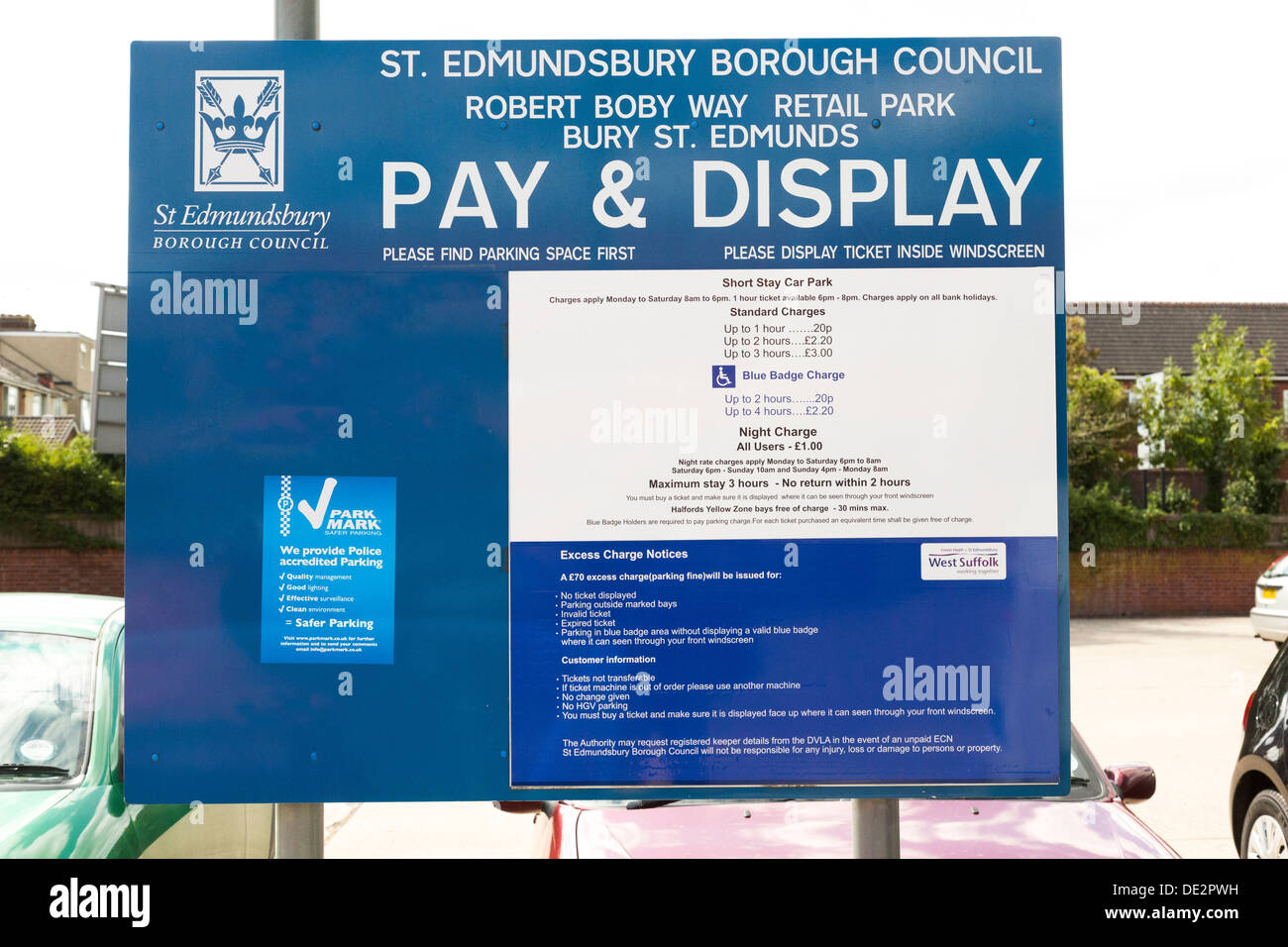 Pay & Display car park sign in the UK - Stock Image