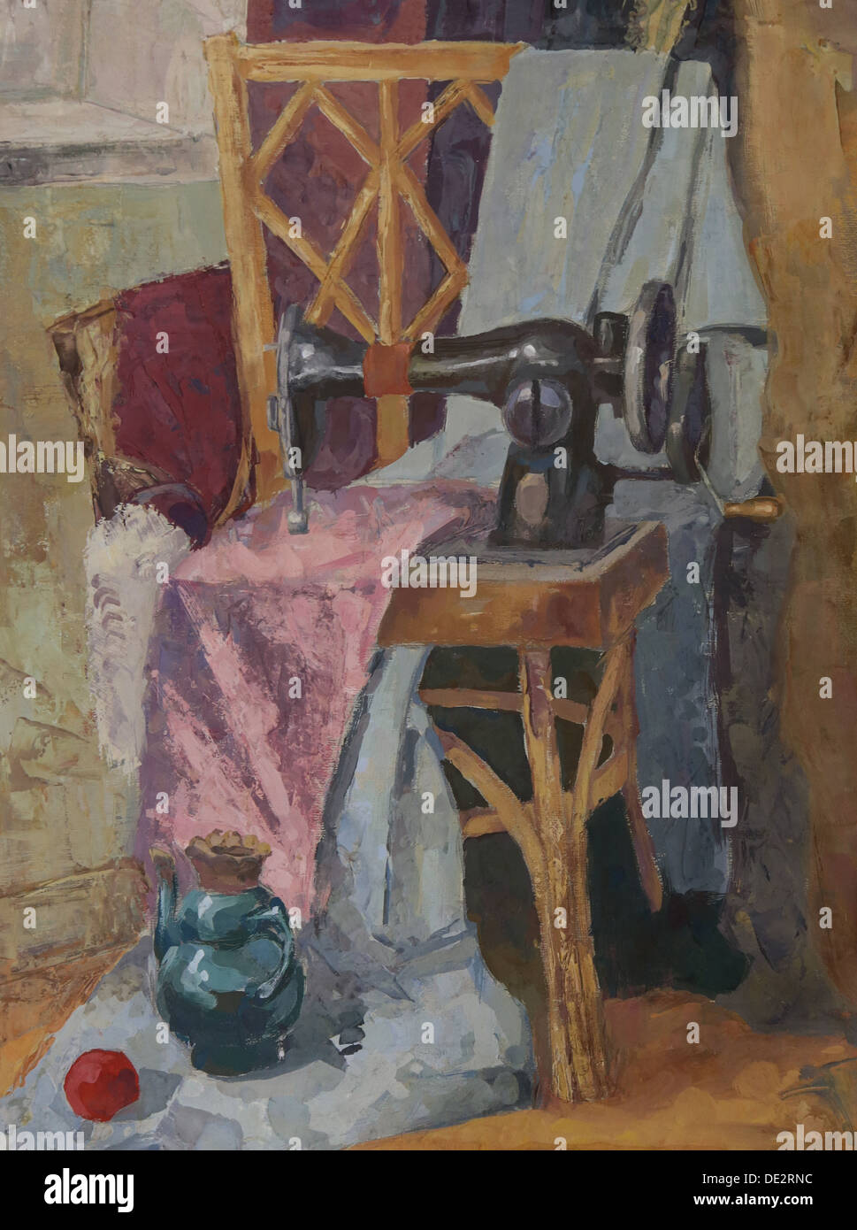 Still life with Antique Sewing Machine. Painting. Gouache on Paper - Stock Image