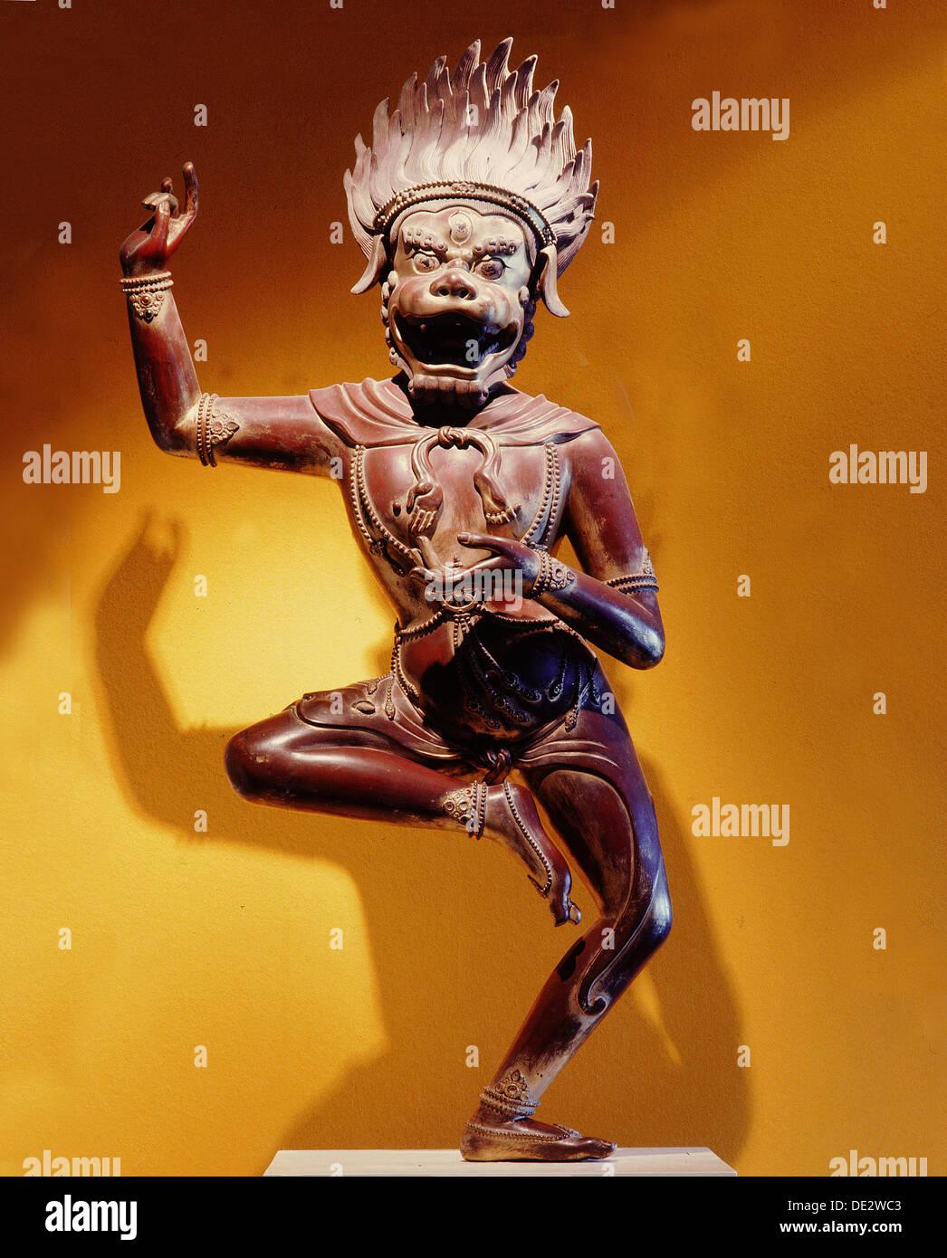 A statue of Simhavaktra Dakini, a lion-faced Dakini Stock