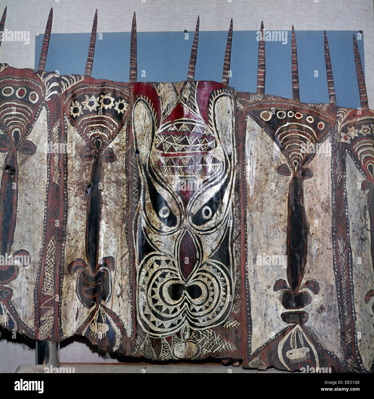 Painted sheets of bark cloth, called 'tapa', used as magical ornaments in ceremonial ghost-houses to which only the men were adm - Stock Image