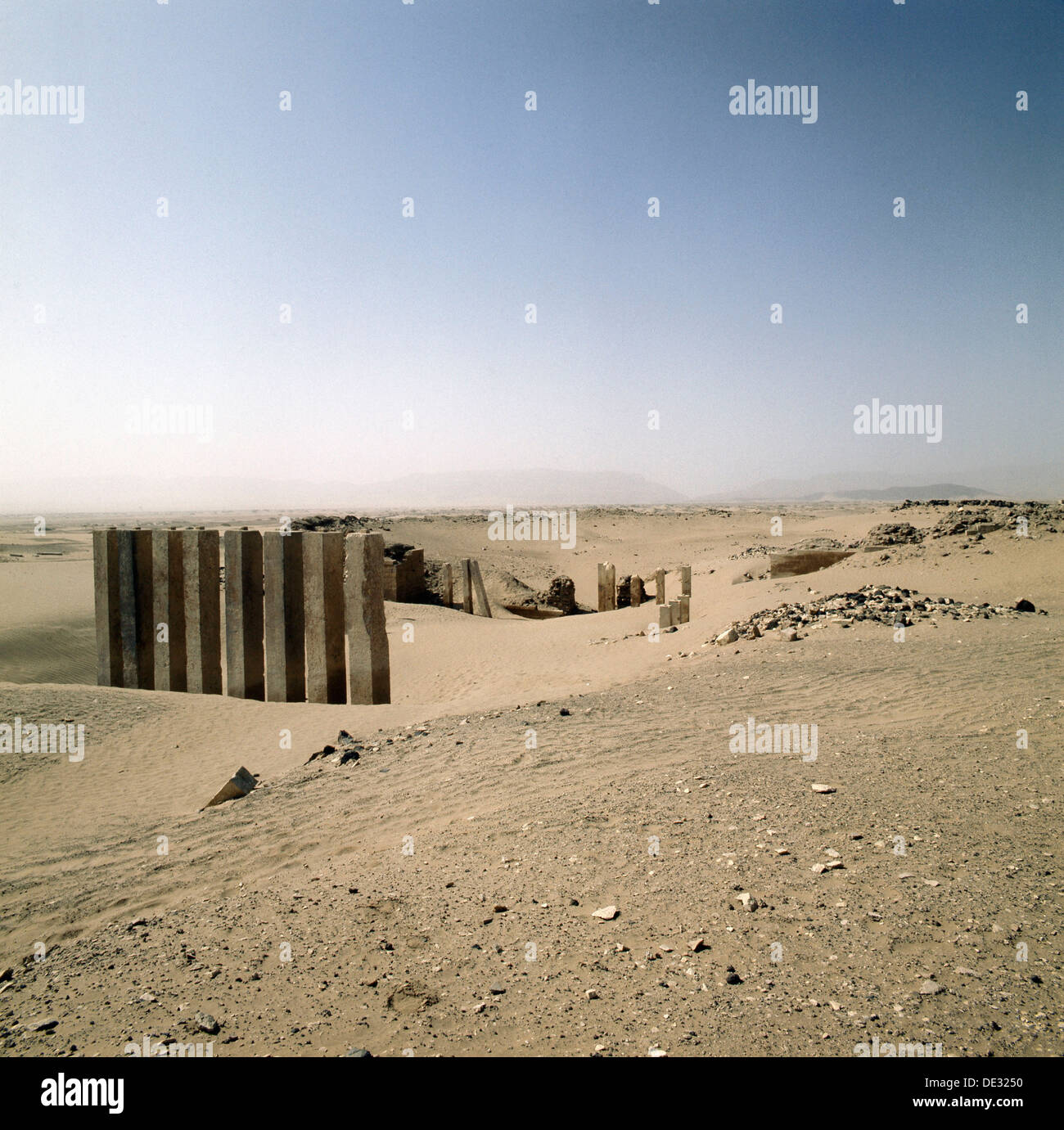 The Awwam Temple was the largest to be built in South Arabia and was dedicated to the moon god Almaqah. - Stock Image