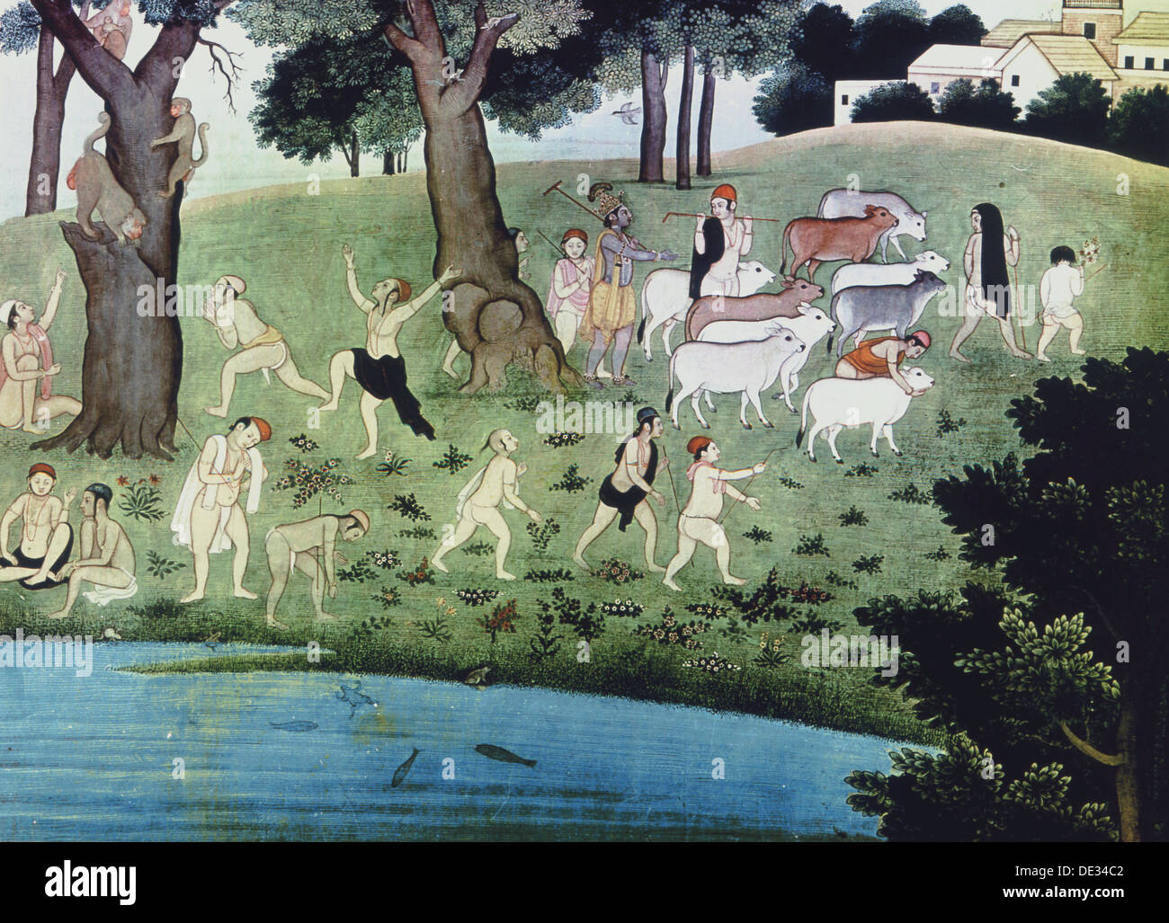 Illustration of an episode from the Bhagavad Purana. - Stock Image