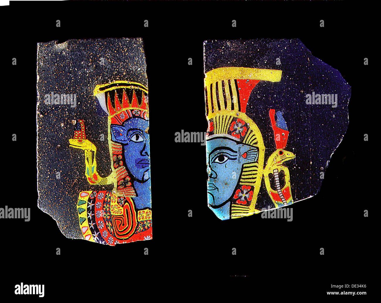 Glass fragments, two half faces of the goddess Hathor. - Stock Image
