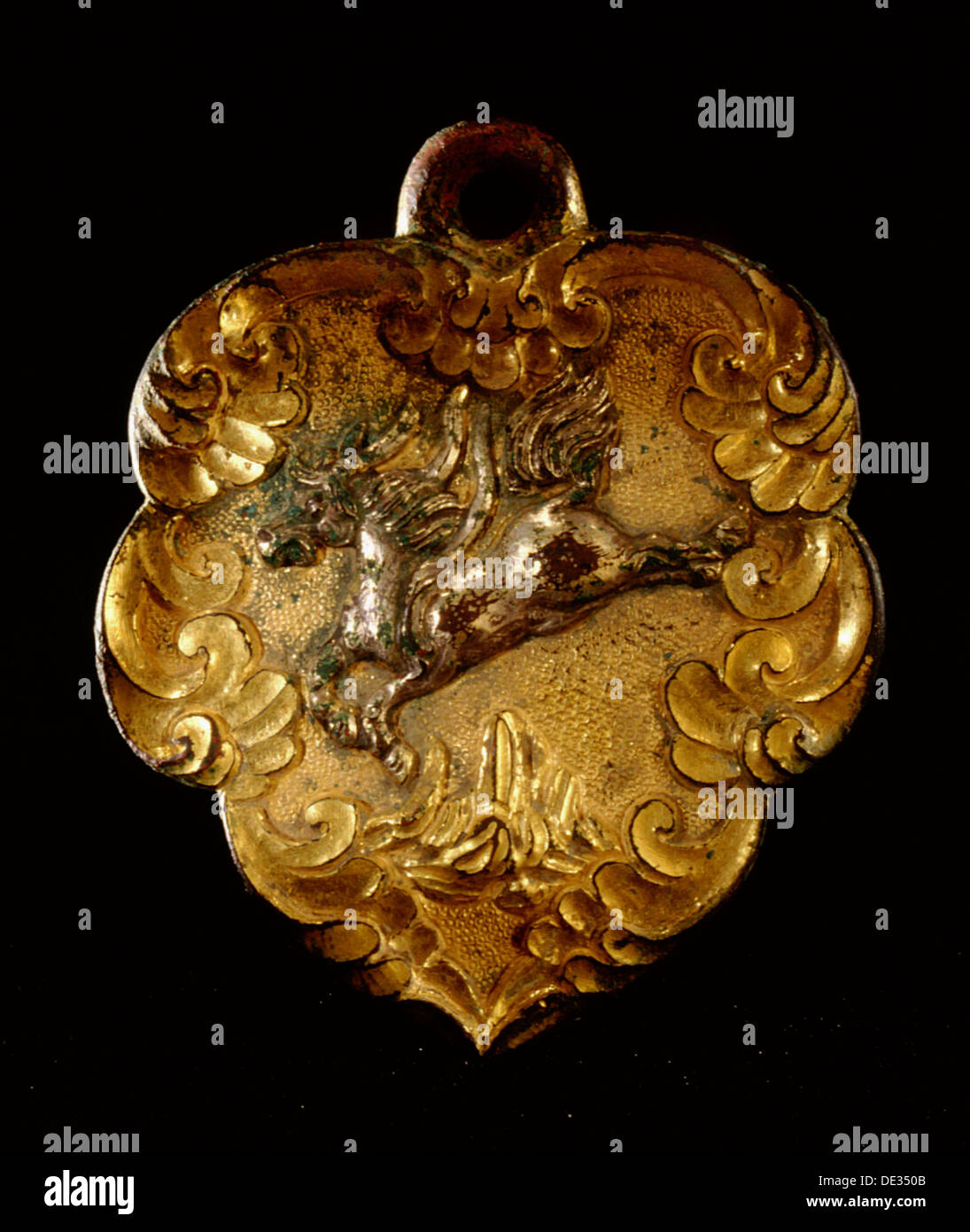 A harness fitting decorated with the mythical flying qilin which resembles the Western unicorn, a traditional symbol of longevit - Stock Image