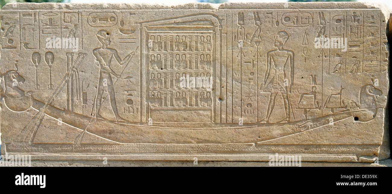 The sacred barque of Amun steered by the king Tuthmosis II. - Stock Image