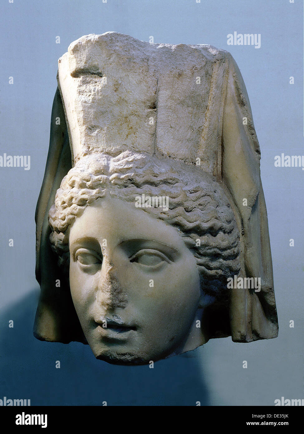 The head of the mother-goddess Cybele whose worship was imported to Rome from Phrygia in Asia Minor in the second century BC. - Stock Image