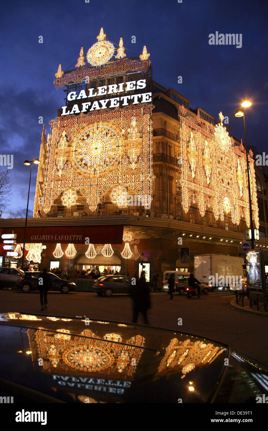 Night view of Galeries Lafayette with Christmas lights decoration ...