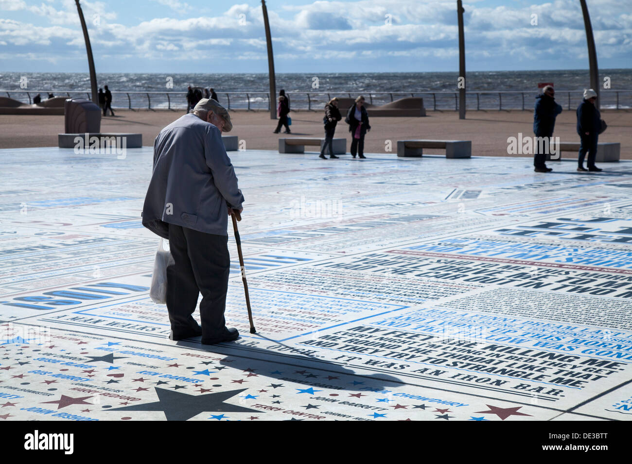 The comedians pavement an 1,880m2 granite and embossed typographical promenade celebrating Blackpool's tradition of comedy, UK - Stock Image