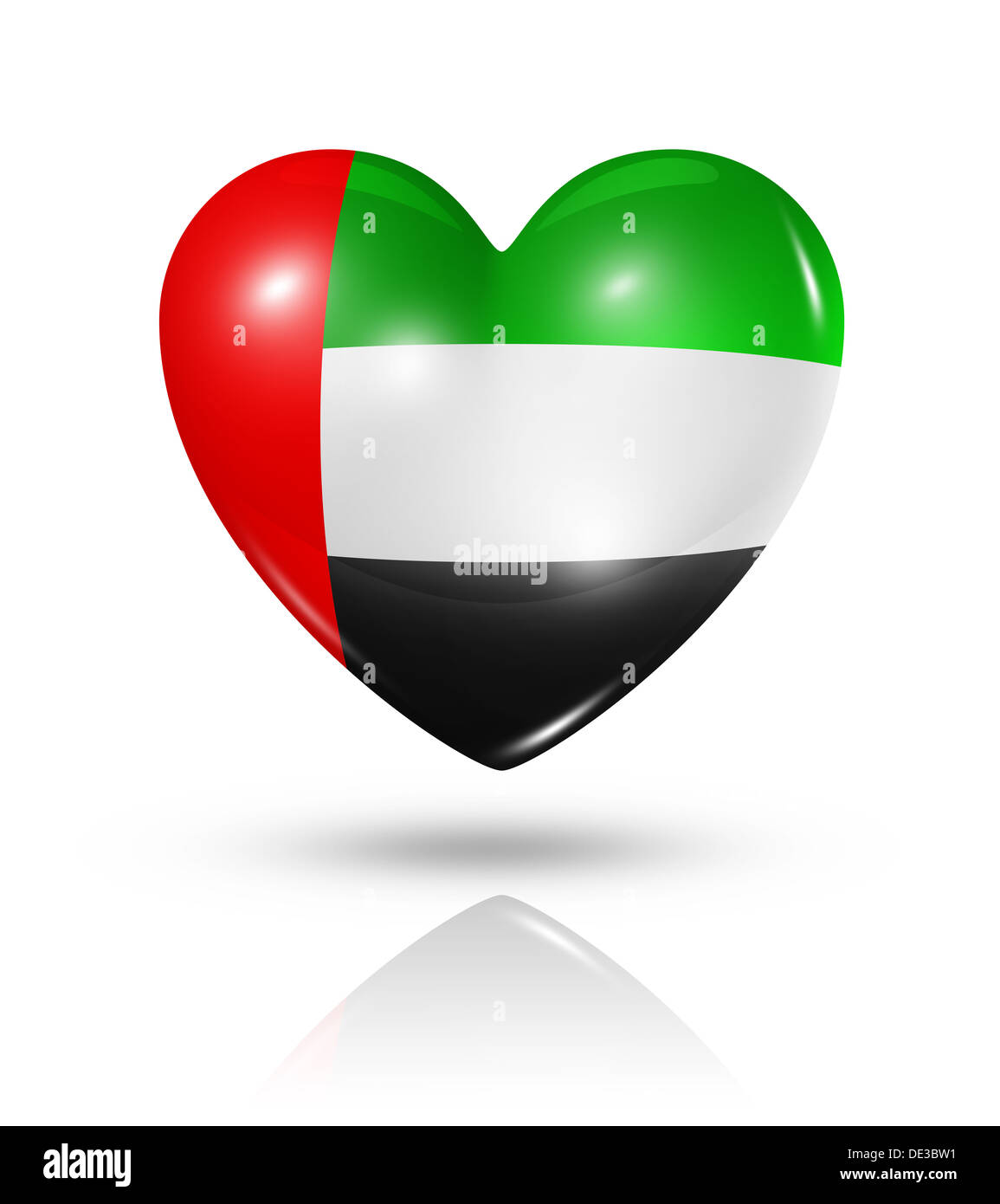 Love United Arab Emirates Symbol 3d Heart Flag Icon Isolated On