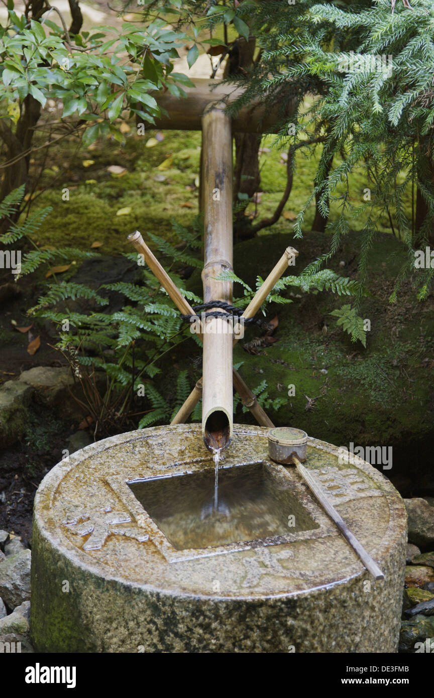 A Japanese Bamboo Fountain Flowing Into A Stone Basin Shaped Like A Japanese Coin Behind Kinkakuji Temple In Kyoto