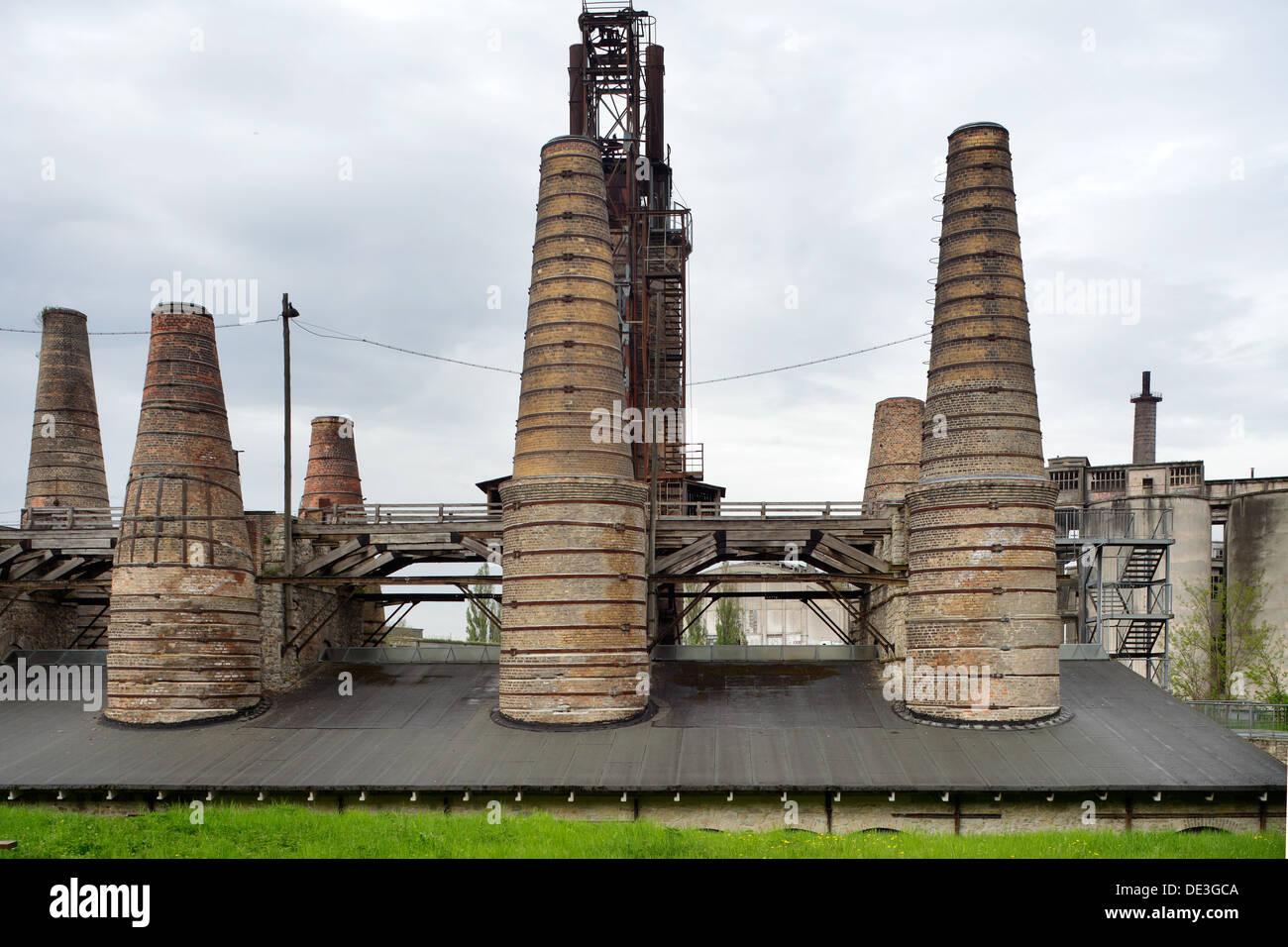 Ruedersdorf, Germany, ruin the shaft furnace battery, Museum Park Ruedersdorf - Stock Image