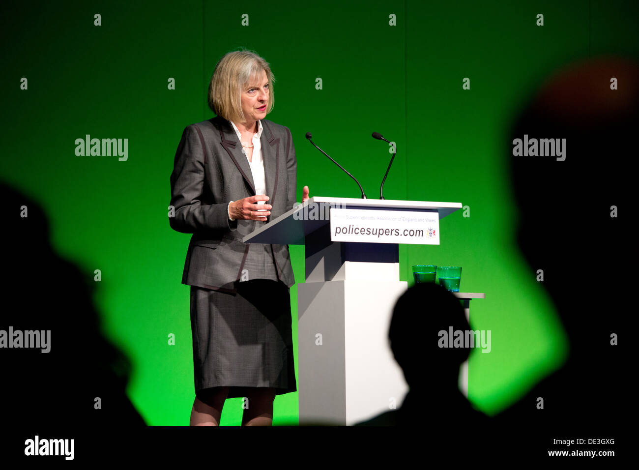 Home Secretary Theresa May giving her speech at the Association of Police Superintendents Annual Conference. - Stock Image