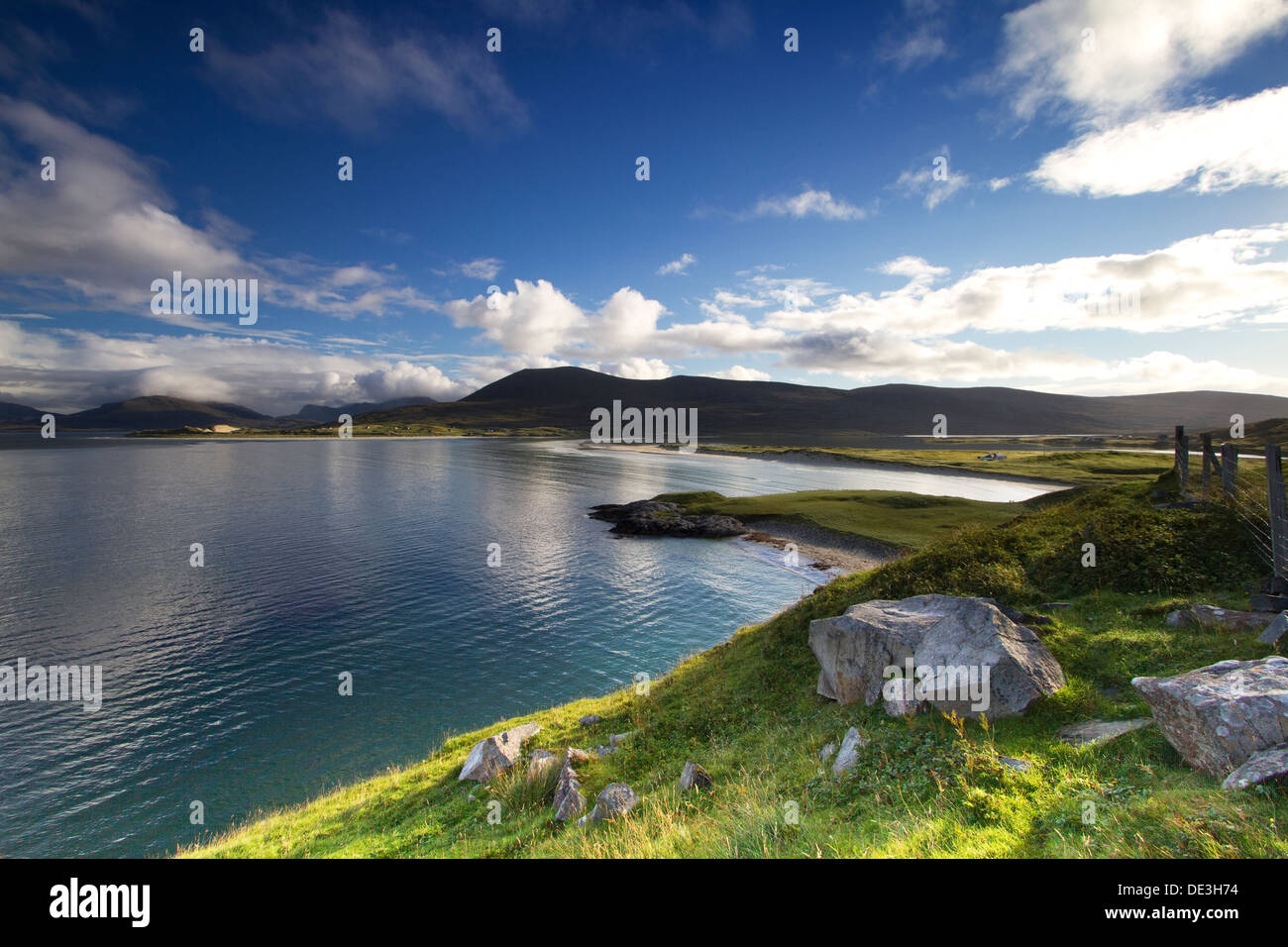 A view over Seilebost and Luskentyre beaches on the Isle of Harris, Scotland - Stock Image