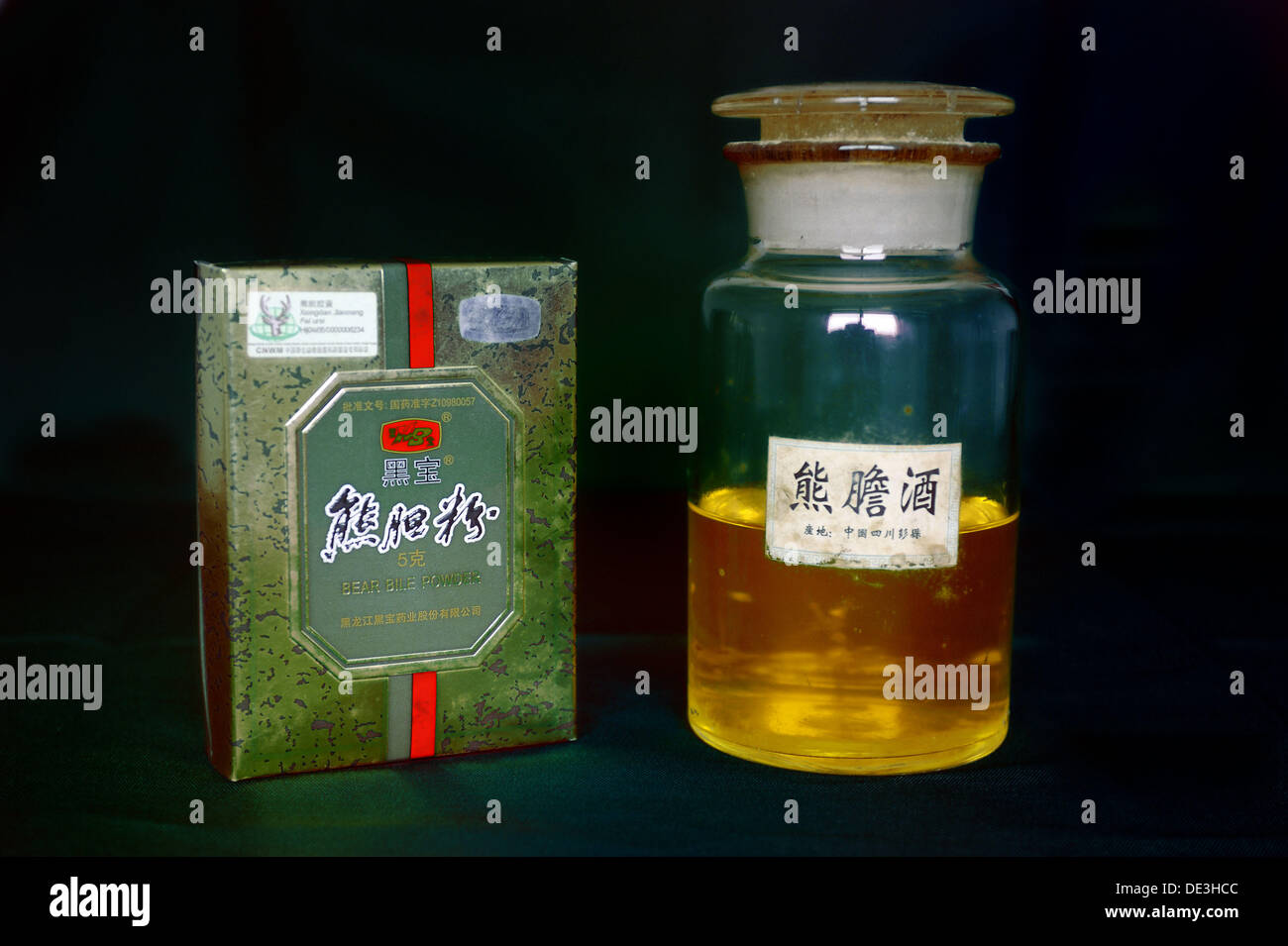 Bile product from Asiatic black bear (Ursus thibetanus) used in traditional Chinese medicine - Stock Image