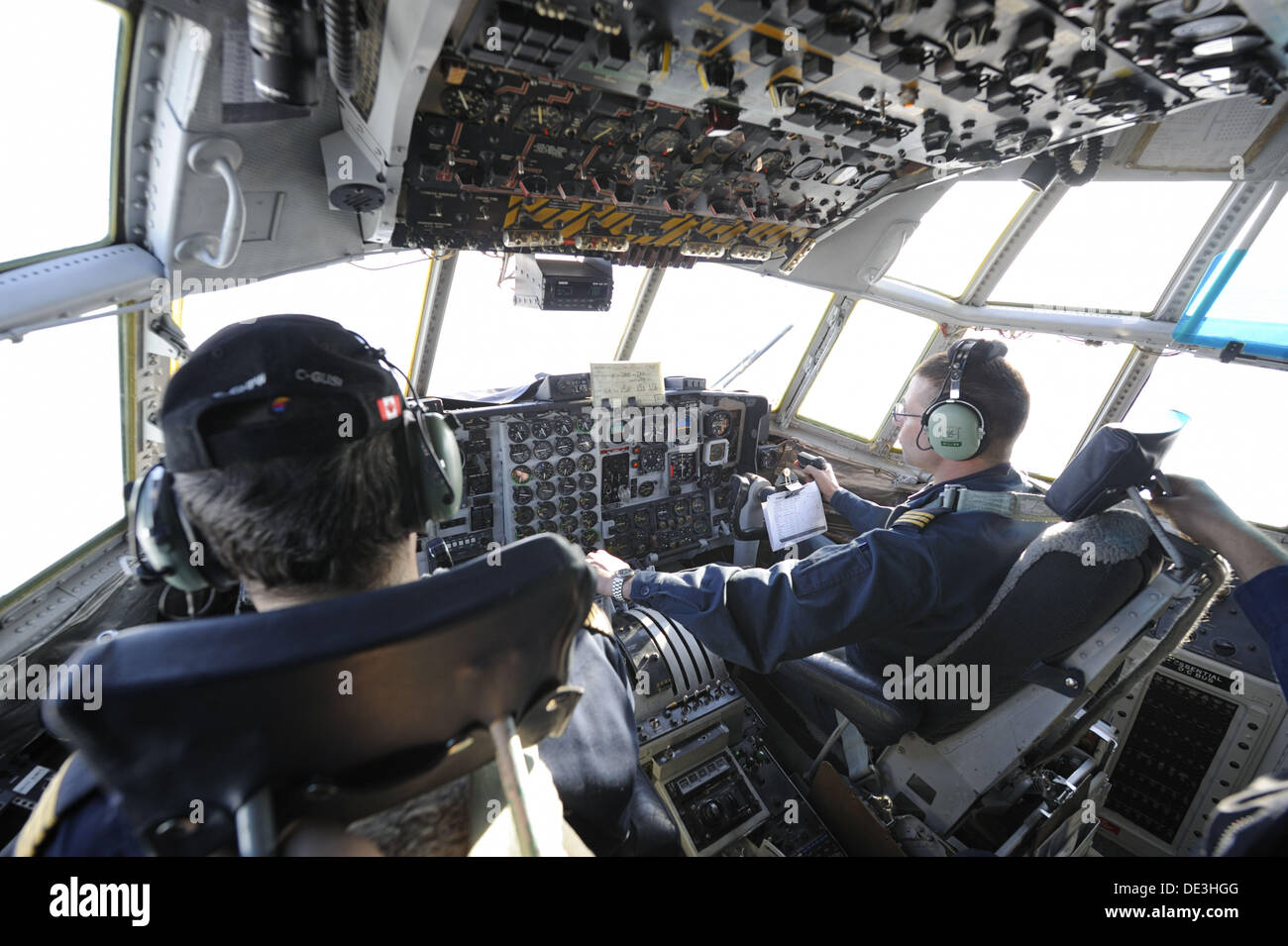 Pilotes in Herkules cargo aircraft, Yellowknife, Northwest Territories, Canada - Stock Image