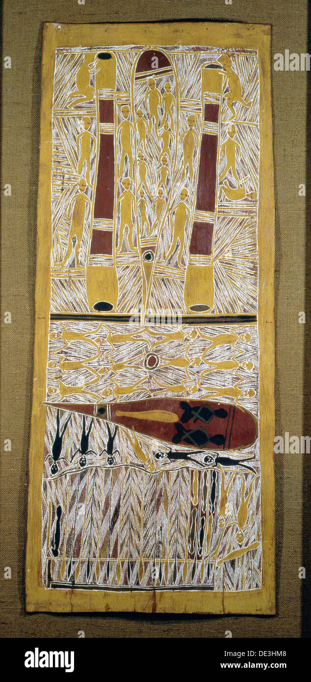Aboriginal bark painting depicting an episode from clan ancestral mythology. - Stock Image