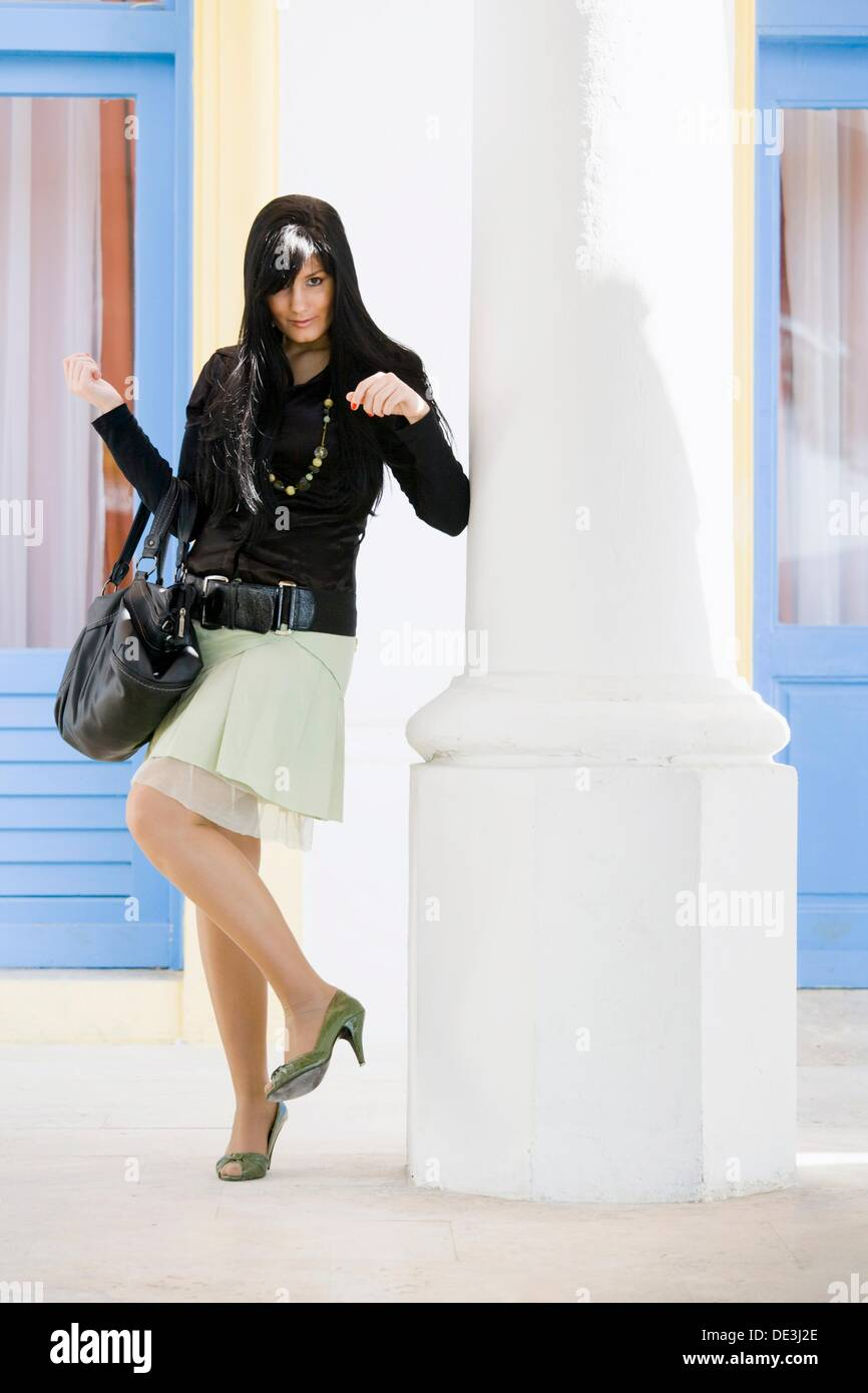 Young woman with a purse Stock Photo