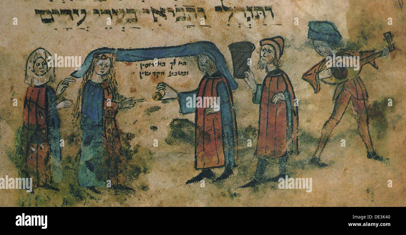 Marriage. Haggadah, Mid of the 15th cen.. Artist: Anonymous - Stock Image