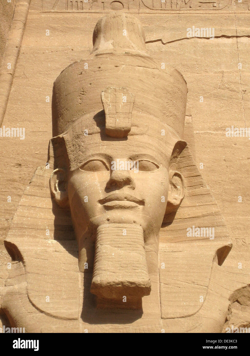 The colossal statue of Ramses II at Abu Simbel, built  as a lasting monument to himself and his wife Queen Nefertari Stock Photo