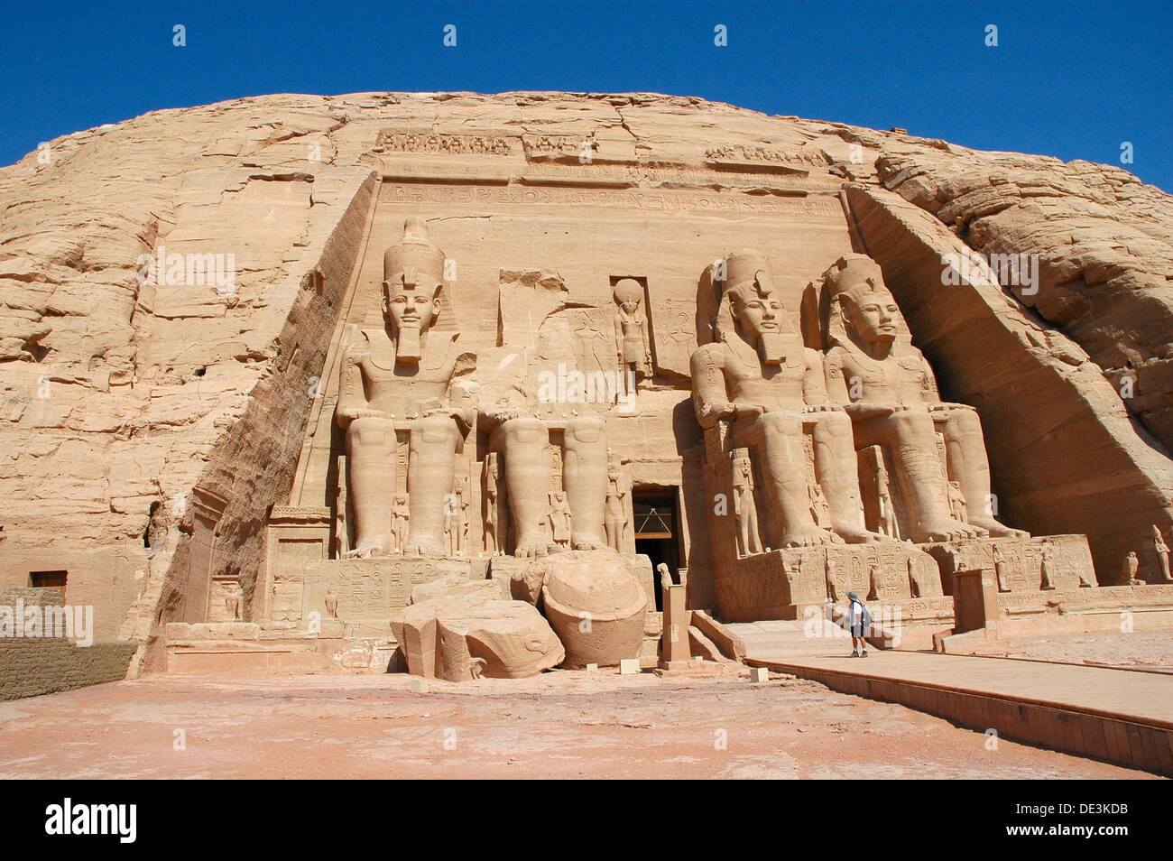 The colossal statues of Ramses II at Abu Simbel, built  as a lasting monument to himself and his wife Queen Nefertari Stock Photo