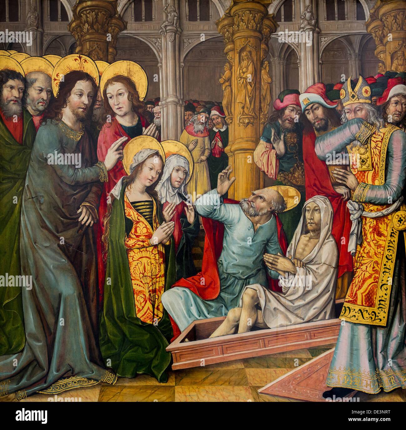 15th century  -  The Resurrection of Lazarus, around 1496 - Jacquelin de Montluçon Philippe Sauvan-Magnet / Active Museum - Stock Image