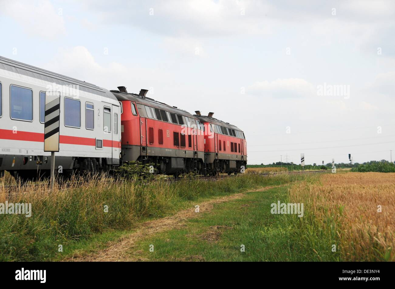 Intercity train of Deutsche Bahn AG with two diesel locomotives - Stock Image