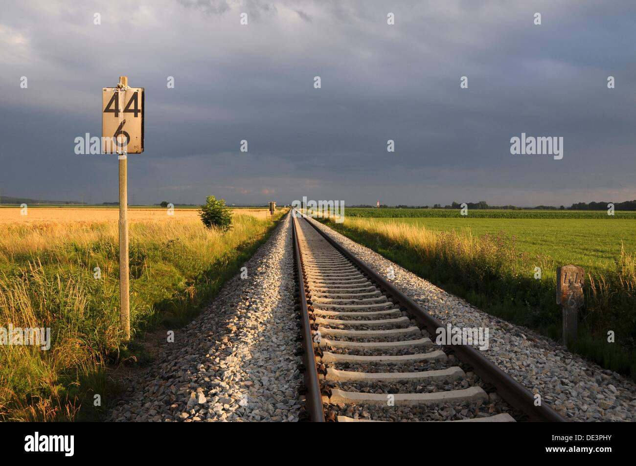 Free rail line of thunderstorms mood - Stock Image