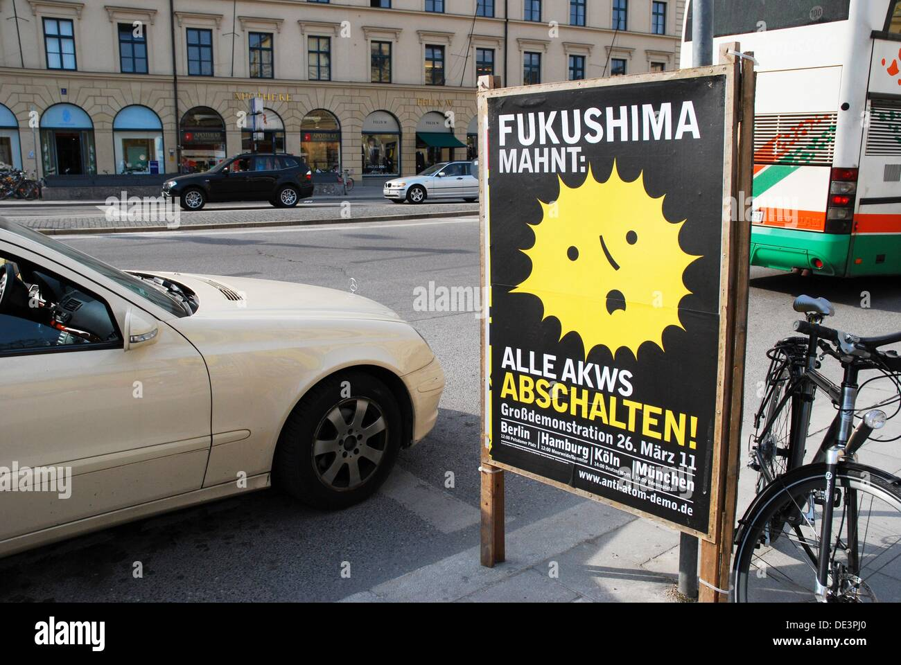 Poster against Fukushima nuclear power and calls for the demonstration on in Munich - Stock Image